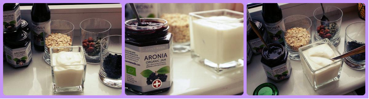 jogurt z dżemem aroniowym